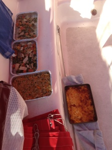 Four of the five dinners cooling on deck