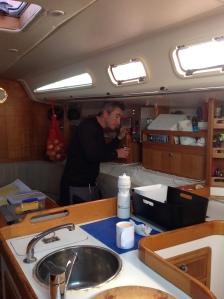 Pete making morning coffee