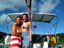 Sophie and Sa, swimming with sharks!