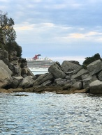 Cruise liner sneaking out of Sydney