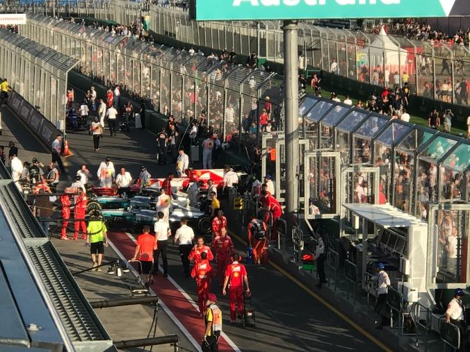 Winning cars awaiting scrutineering