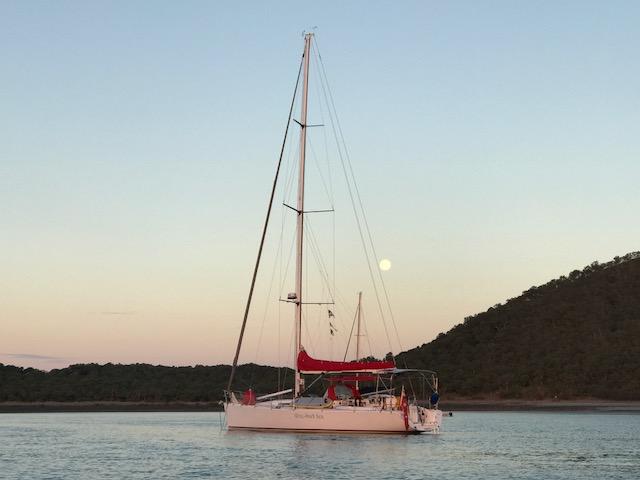 On a Wine-Dark Sea with an almost full moon rising