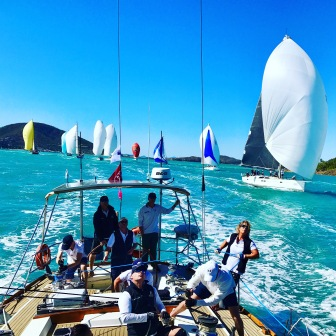 Pilgrim leading the fleet across the start line - photo by Laura Wallace