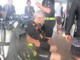The keen diver getting set up