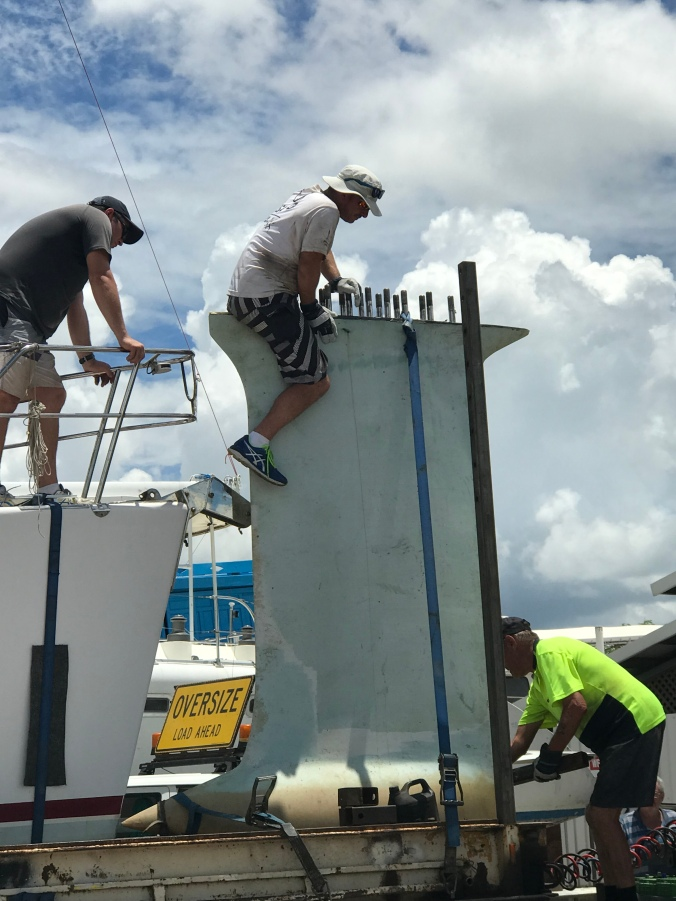 Pete securing the keel on the truck